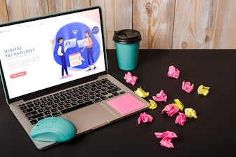 Laptop mockup with sticky notes