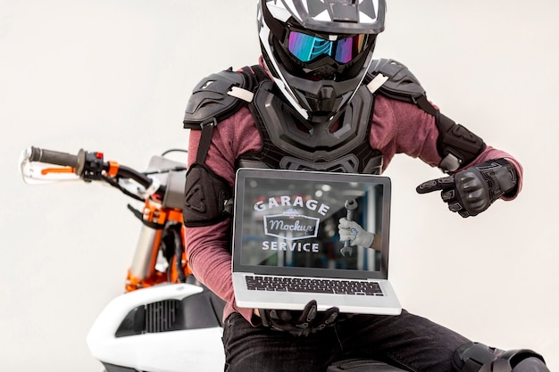 Laptop on a motorcycle