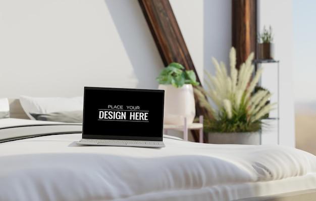 작업 공간 모형의 책상에 노트북