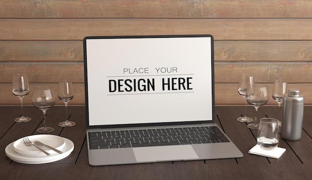 작업 공간 psd 모형의 책상에 노트북