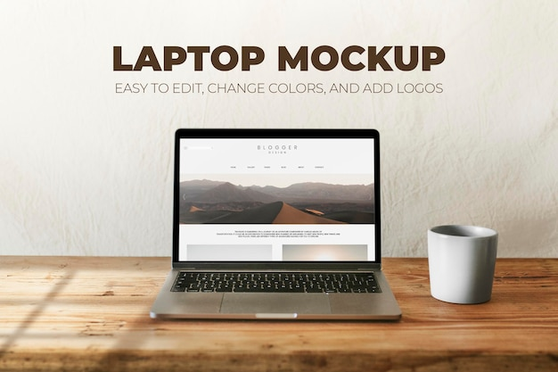 Laptop psd mockup with coffee mug on wooden table