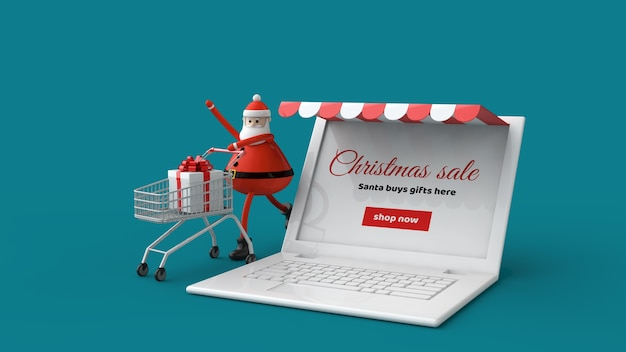 Laptop and santa claus with shopping cart and gift in 3d illustration isolated