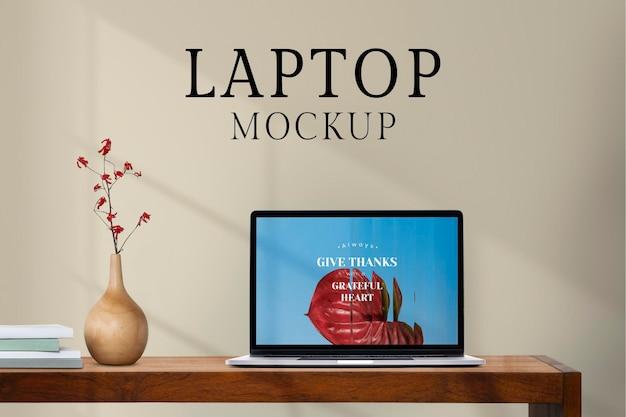 Laptop screen mockup, botanical design space psd