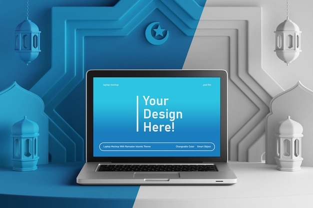 Laptop screen mockup on changeable color creative 3d render ramadan eid mubarak islamic theme