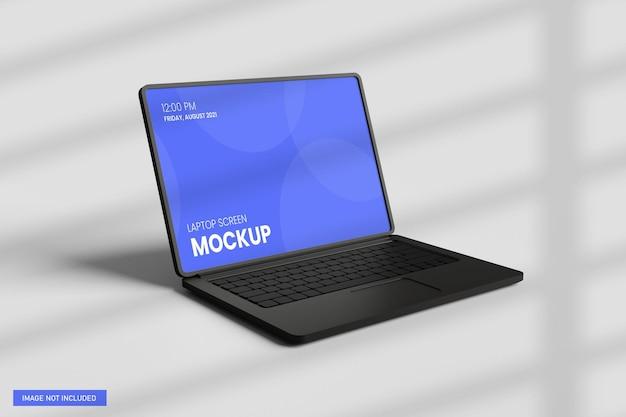 Laptop screen mockup front view in 3d rendering