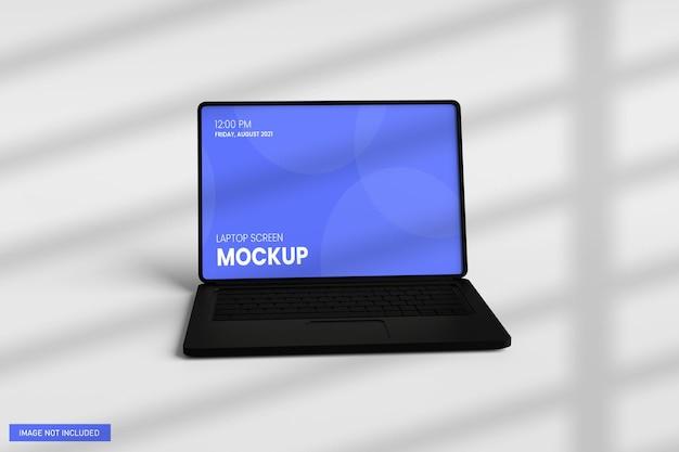 3dレンダリングでのノートパソコンの画面のモックアップ正面図