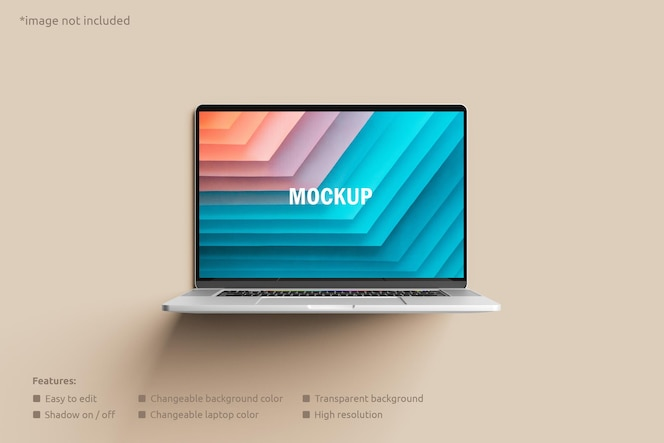 ノートパソコンの画面のモックアップ正面図