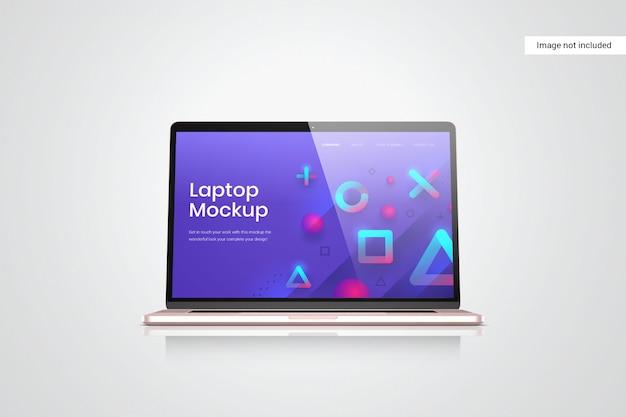 ラップトップスクリーンのモックアップの正面図