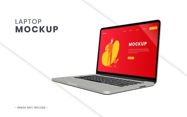 分離されたノートパソコンの画面のモックアップ