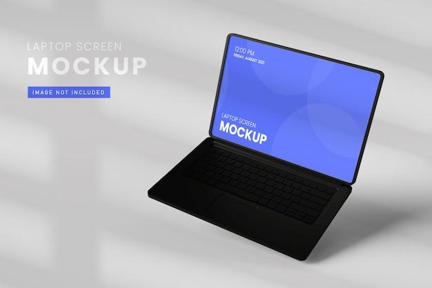 Laptop screen mockup top view in 3d rendering