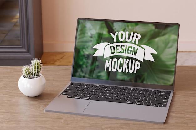 ノートパソコンの画面のモックアップ