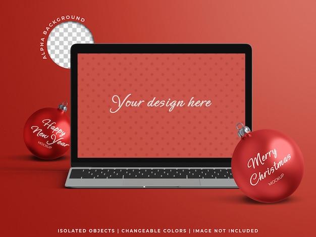 分離されたクリスマスボールと休日の概念のためのノートパソコン画面オンラインプロモーション販売モックアップ