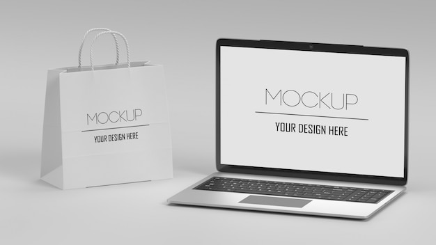Laptop and shopping bag mockup