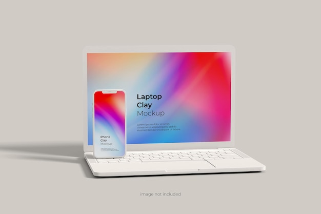 Laptop and smartphone clay mockup