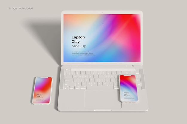 Laptop e smartphone clay mockup