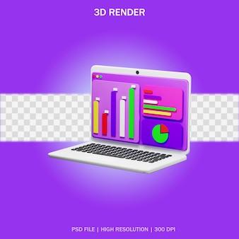 Ноутбук с аналитическим приложением и прозрачным фоном в 3d-дизайне