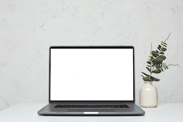 Laptop with blank empty screen