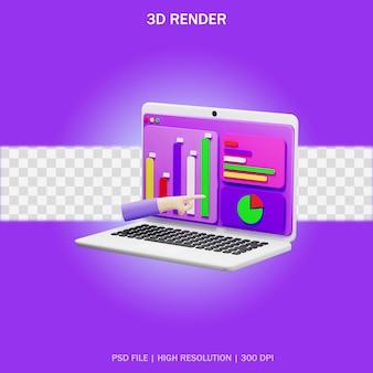 Ноутбук с рукой и прозрачным фоном в 3d-дизайне