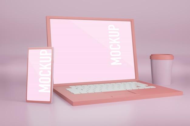Ноутбук с макетом мобильного телефона