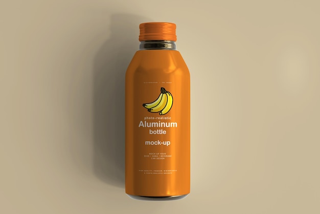 Large aluminum beverage bottle mockup