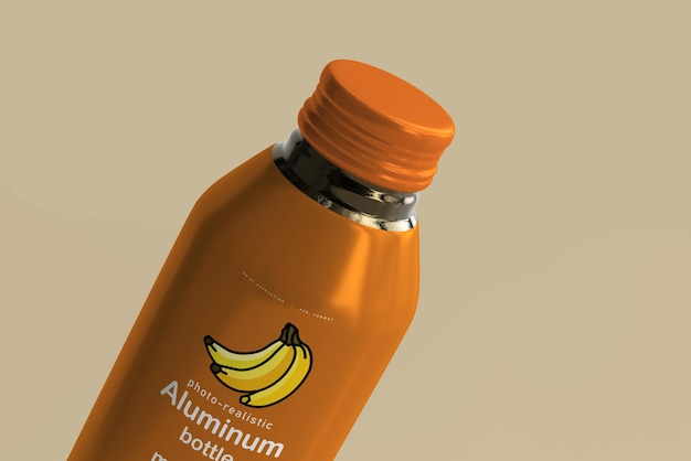 Large aluminum beverage bottle mockup