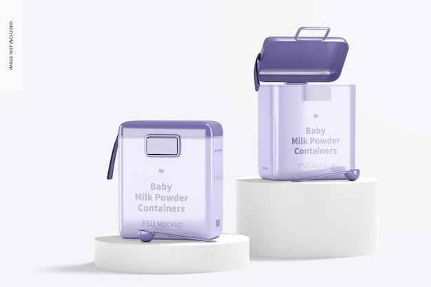 Mockup di grandi contenitori per latte in polvere per bambini, prospettiva