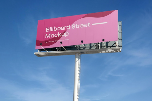 Large billboard mockup on blue sky