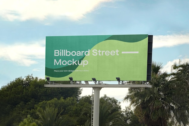 Large billboard mockup with palm trees