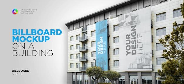 Large billboards mockup on building
