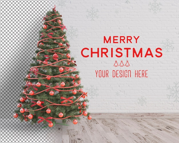 Large christmas tree and white accessories christmas mockup