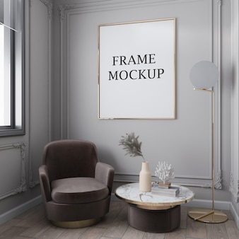 Large gold wall frame mockup in art deco interior