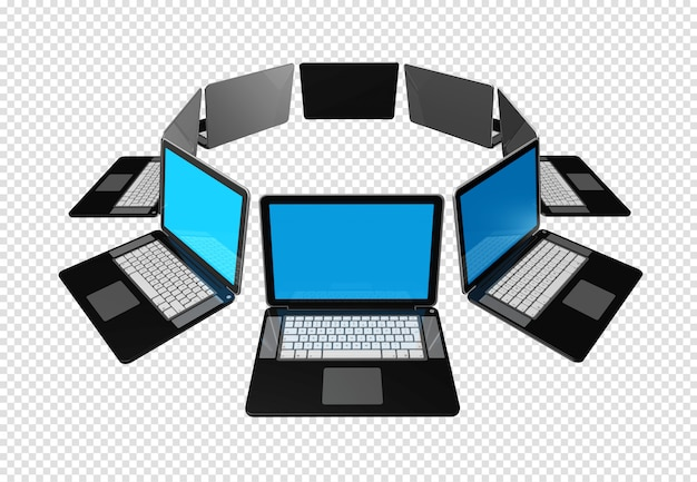 Large group of laptop computers