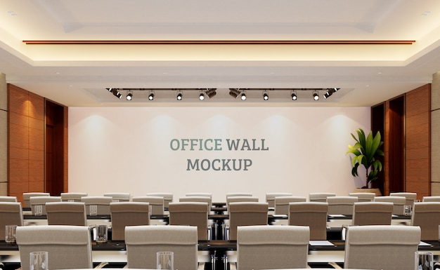 Large hall space with wall mockup