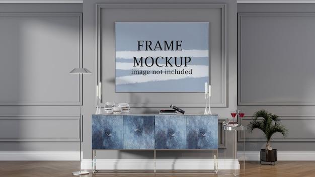 Large horizontal picture frame mockup