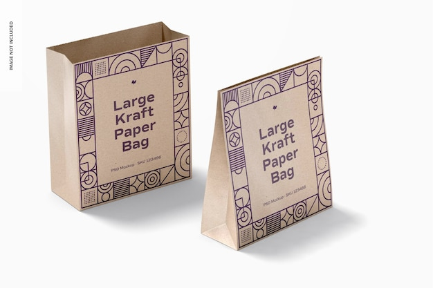 Large kraft paper bags mockup, opened and closed