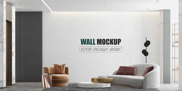 Large living room modern design wall mockup