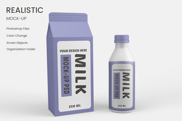 Large milk carton packing mockup free psd
