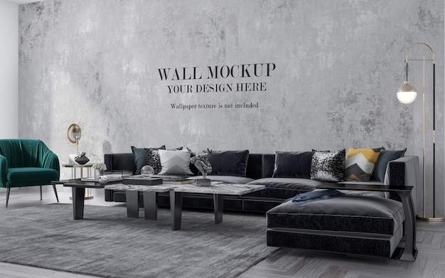 Large modern sofa in front of mockup wall