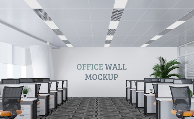 Large and modern work space with wall mockup