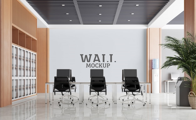 Large and modern working space.wall mockup