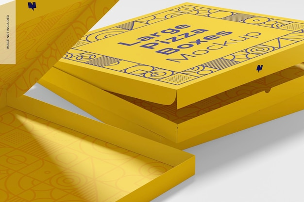 Large pizza boxes mockup, close-up