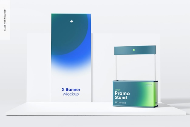 Large promo stand mockup, left view