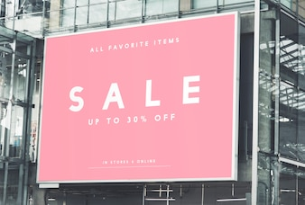 Large-scale rectangular billboard mockup