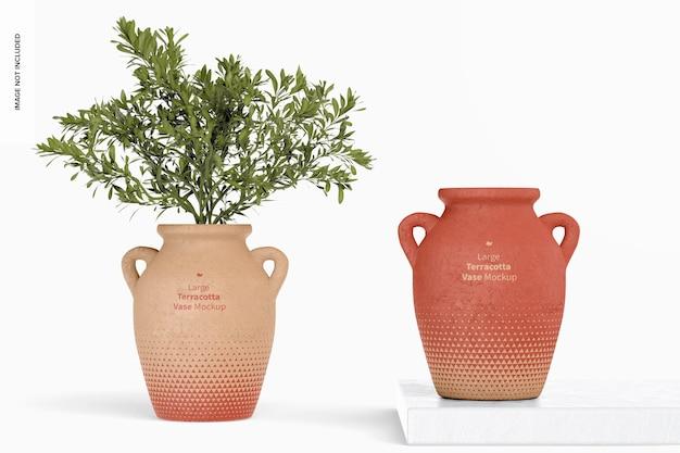 Mockup di grandi vasi in terracotta con manici, vista frontale