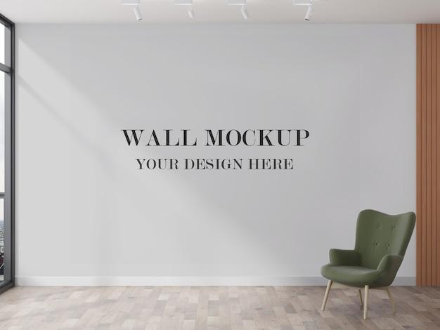デザインの3dビジュアライゼーション用の大きな壁のモックアップ