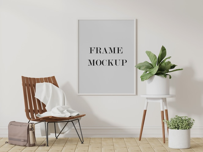 Large white picture frame mockup 3d visualization