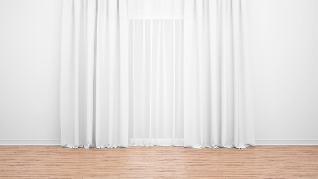 Large window with delicate white curtains. wooden floor. empty room as minimal concept