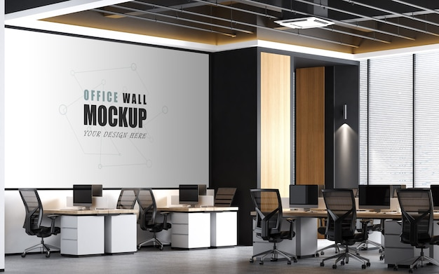 Large working space with modern design wall mockup