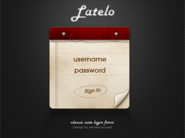 Latelo classic note login form