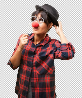 Latin girl wearing clown clothes